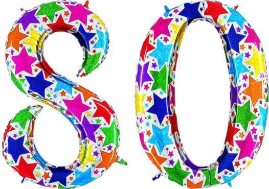 Luftballon Zahl 80 Zahlenballon silber mit bunten Sternen (100 cm)