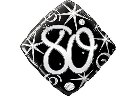 Eleganter Diamant-Luftballon mit Zahl 80 schwarz (38 cm)