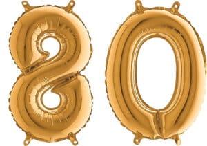 Luftballon Zahl 80 Zahlenballon gold (66 cm)