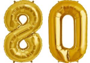 Luftballon Zahl 80 Zahlenballon gold (86 cm)