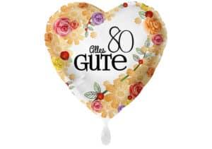 Herzluftballon mit Rosen Alles Gute Zahl 80 weiß (38 cm)