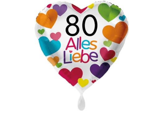 Herzluftballon mit kleinen Herzen Alles Liebe Zahl 80 weiß (38 cm)