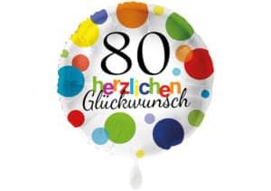 Runder Luftballon mit bunten Punkten Herzlichen Glückwunsch Zahl 80 weiß (38 cm)