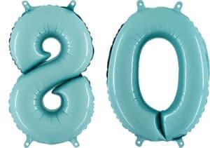 Luftballon Zahl 80 Zahlenballon pastell-blau (100 cm)