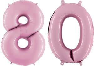 Luftballon Zahl 80 Zahlenballon pastell-pink (100 cm)