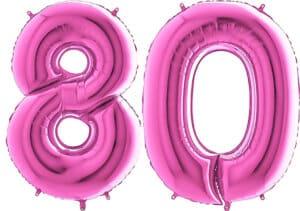 Luftballon Zahl 80 Zahlenballon pink (66 cm)