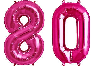 Luftballon Zahl 80 Zahlenballon pink (86 cm)