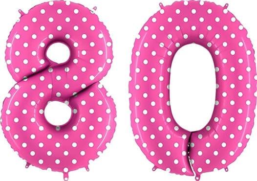 Luftballon Zahl 80 Zahlenballon pink mit weißen Punkten (100 cm)
