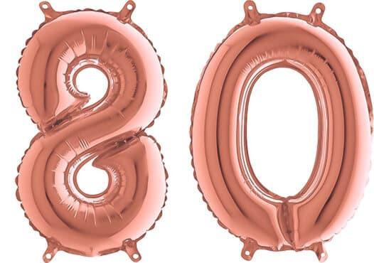 Luftballon Zahl 80 Zahlenballon rosegold (66 cm)
