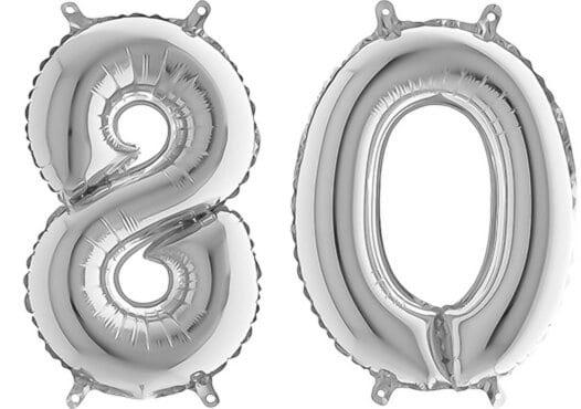 Luftballon Zahl 80 Zahlenballon silber (66 cm)