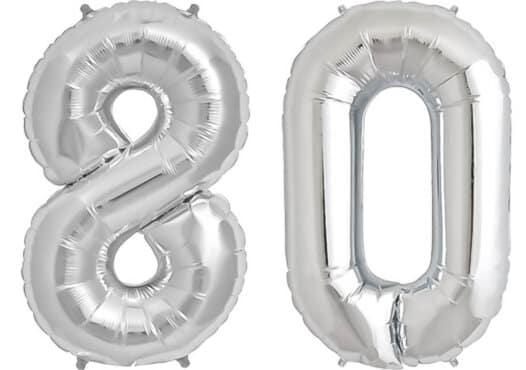 Luftballon Zahl 80 Zahlenballon silber (86 cm)