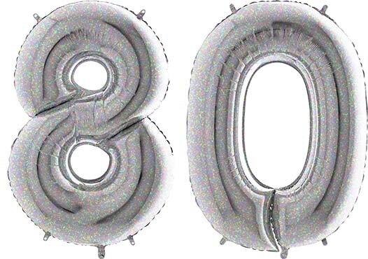 Luftballon Zahl 80 Zahlenballon silber-holographic (100 cm)