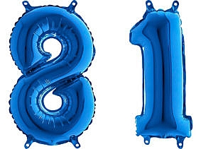 Luftballon Zahl 81 Zahlenballon blau (66 cm)