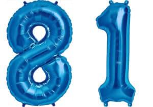 Luftballon Zahl 81 Zahlenballon blau (86 cm)