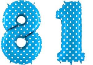 Luftballon Zahl 81 Zahlenballon blau mit weißen Punkten (100 cm)