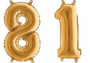 Luftballon Zahl 81 Zahlenballon gold (66 cm)