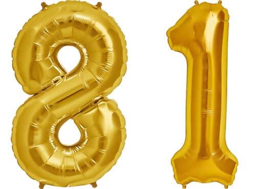 Luftballon Zahl 81 Zahlenballon gold (86 cm)