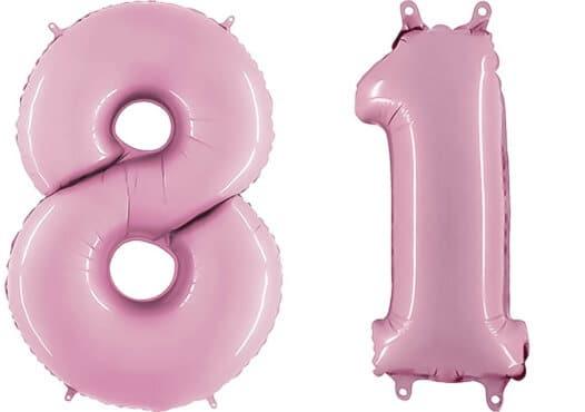 Luftballon Zahl 81 Zahlenballon pastell-pink (100 cm)