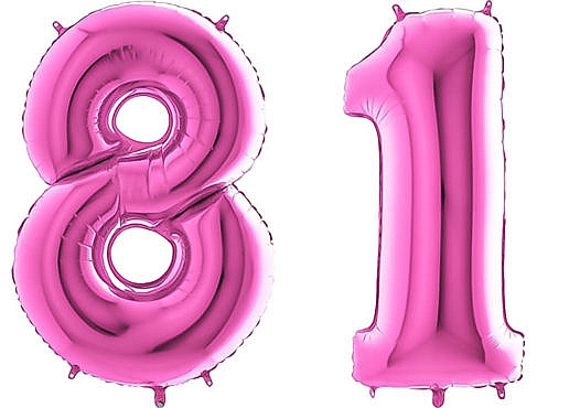 Luftballon Zahl 81 Zahlenballon pink (66 cm)
