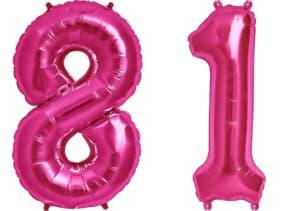 Luftballon Zahl 81 Zahlenballon pink (86 cm)