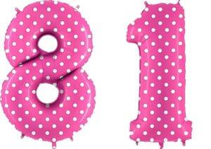 Luftballon Zahl 81 Zahlenballon pink mit weißen Punkten (100 cm)