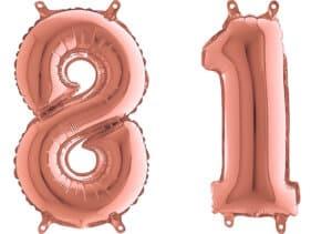 Luftballon Zahl 81 Zahlenballon rosegold (66 cm)