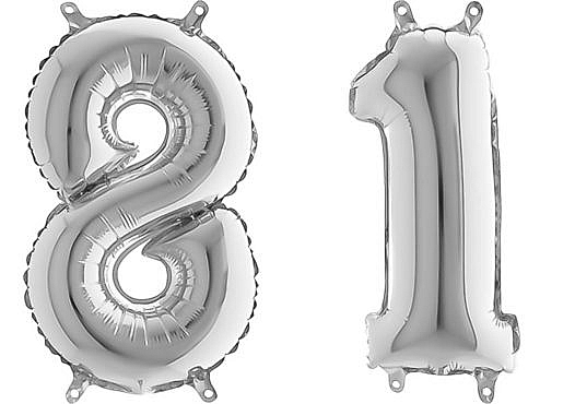 Luftballon Zahl 81 Zahlenballon silber (66 cm)
