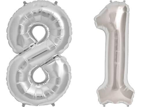 Luftballon Zahl 81 Zahlenballon silber (86 cm)