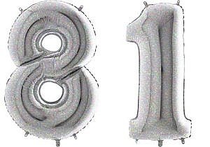 Luftballon Zahl 81 Zahlenballon silber-holographic (100 cm)