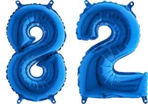 Luftballon Zahl 82 Zahlenballon blau (66 cm)