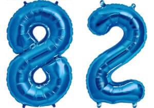 Luftballon Zahl 82 Zahlenballon blau (86 cm)