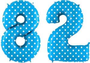 Luftballon Zahl 82 Zahlenballon blau mit weißen Punkten (100 cm)