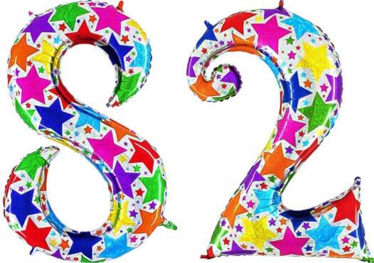 Luftballon Zahl 82 Zahlenballon silber mit bunten Sternen (100 cm)