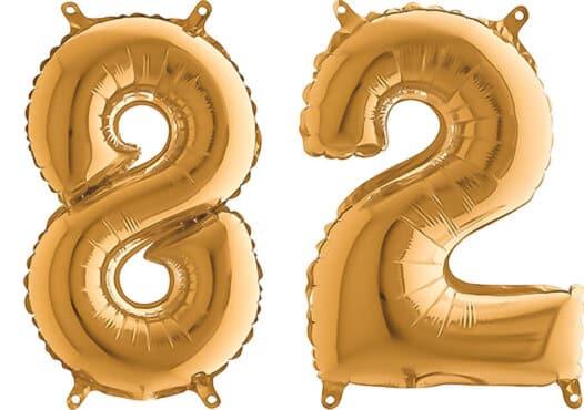Luftballon Zahl 82 Zahlenballon gold (66 cm)