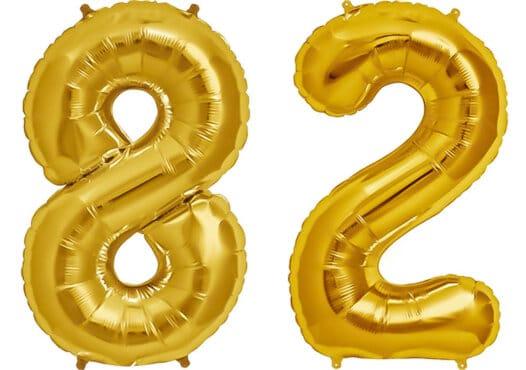 Luftballon Zahl 82 Zahlenballon gold (86 cm)