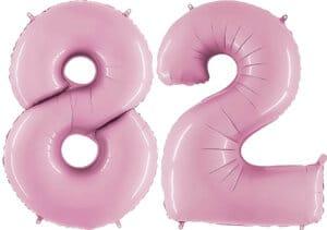 Luftballon Zahl 82 Zahlenballon pastell-pink (100 cm)