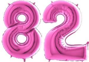 Luftballon Zahl 82 Zahlenballon pink (66 cm)