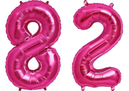 Luftballon Zahl 82 Zahlenballon pink (86 cm)