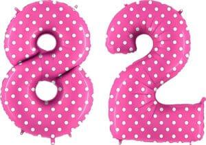 Luftballon Zahl 82 Zahlenballon pink mit weißen Punkten (100 cm)