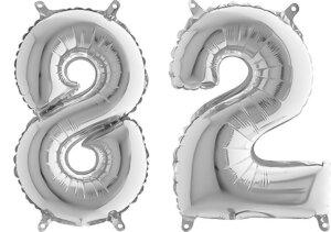 Luftballon Zahl 82 Zahlenballon silber (66 cm)