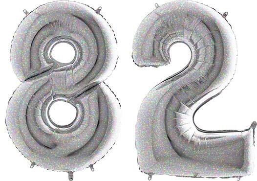 Luftballon Zahl 82 Zahlenballon silber-holographic (100 cm)