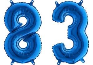 Luftballon Zahl 83 Zahlenballon blau (66 cm)