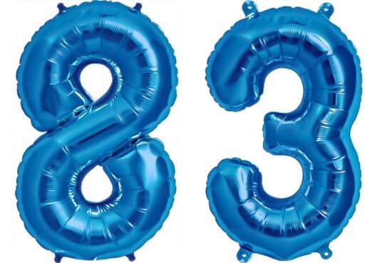 Luftballon Zahl 83 Zahlenballon blau (86 cm)