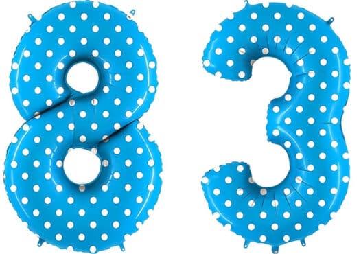 Luftballon Zahl 83 Zahlenballon blau mit weißen Punkten (100 cm)