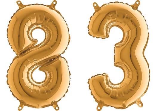Luftballon Zahl 83 Zahlenballon gold (66 cm)