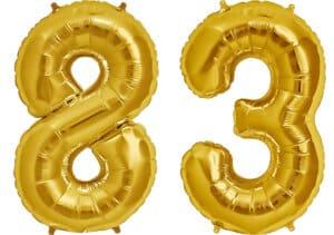 Luftballon Zahl 83 Zahlenballon gold (86 cm)