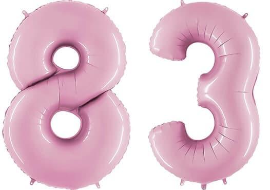 Luftballon Zahl 83 Zahlenballon pastell-pink (100 cm)