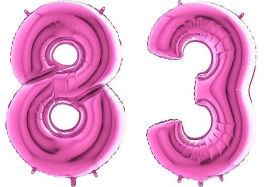Luftballon Zahl 83 Zahlenballon pink (66 cm)