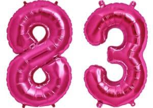 Luftballon Zahl 83 Zahlenballon pink (86 cm)