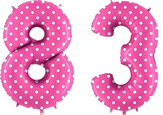 Luftballon Zahl 83 Zahlenballon pink mit weißen Punkten (100 cm)